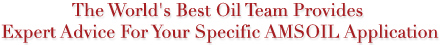 The World's Best Oil Team Provides Expert Advice For Your Specific AMSOIL Application