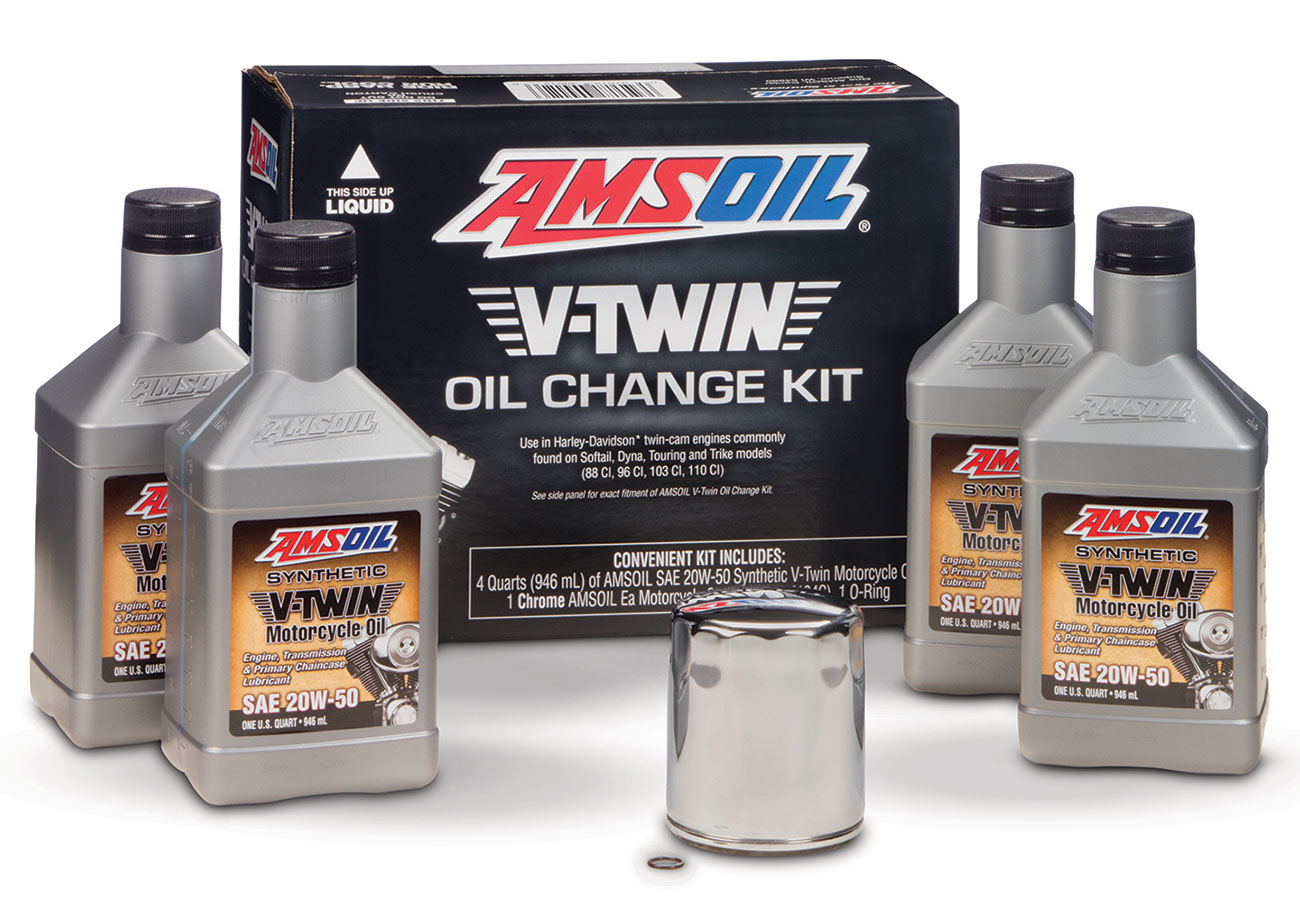 Amsoil v twin oil change kit for harley davidson motorcycle for Best motor oil in the world